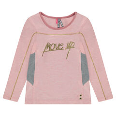Long-sleeved, heather tee-shirt with message in golden foil