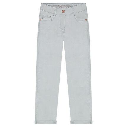 Pastel crinkled-effect slim fit pants