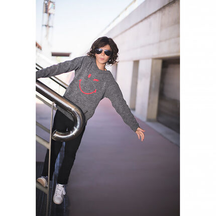 Hooded heathered fleece sweatshirt with printed ©Smiley
