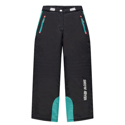 Junior - Ski pants with zipped pockets and turquoise blue yokes