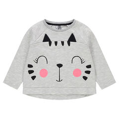 Fleece sweatshirt with a cat print and sparkly details