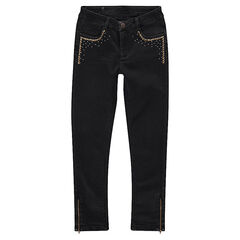 Junior - Used-effect slim fit jeans with fancy studs