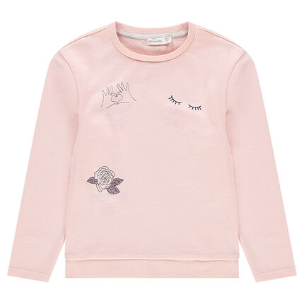 Junior - Plain-colored fleece sweatshirt with motif