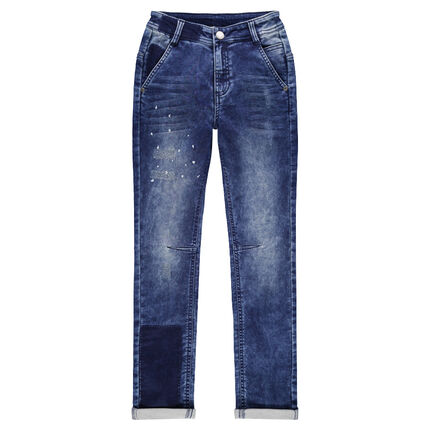 Junior - Used and crinkled-effect jeans with worn details in front