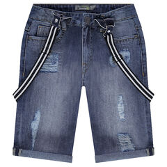 Used-effect denim Bermudas shorts with removable suspenders