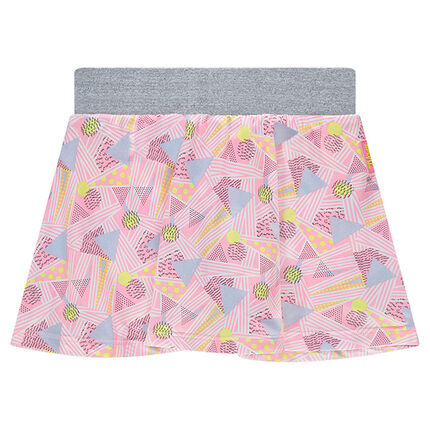 Short skirt with an allover geometric print