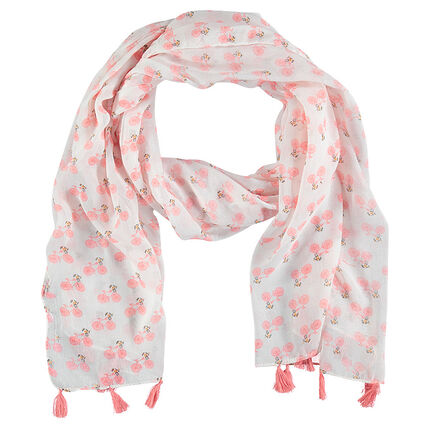 Veil bicycle printed scarf with pompoms