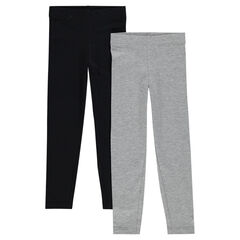 Set of 2 plain-colored, long leggings