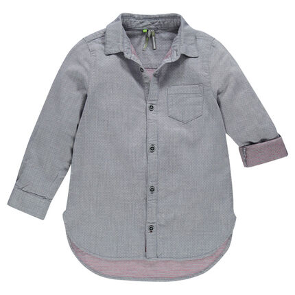 Long-sleeved, two-tone, woven bouse-style shirt