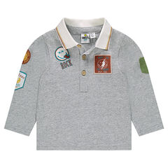 Long-sleeved jersey polo shirt with ©Smiley badges