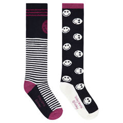 Set of 2 pairs of knee-high socks with ©Smiley and jacquard stripes