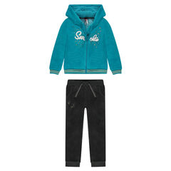 Two-tone velvet sweatsuit ensemble with cord embroidery