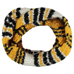 Snood in popcorn knit with silvery thread