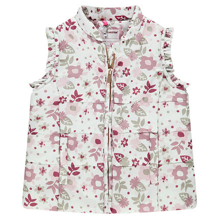 Sleeveless padded jacket with a thin sherpa lining featuring an allover print