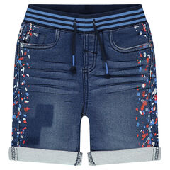 Bermuda shorts in denim effect with colored spots