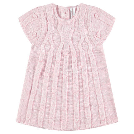 Short-sleeved knit dress with stitched patterns