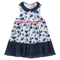 Sleeveless dress with allover printed bubbles, a polka-dotted Peter Pan collar and frill