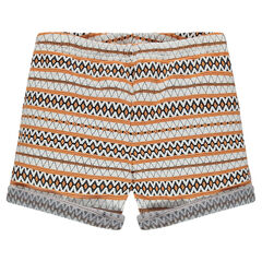 Junior - Jacquard shorts with ethnic print