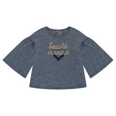 Tunic with 3/4 flared sleeves and a printed message in golden foil