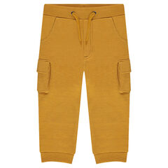 Plain-colored fleece sweatpants with pockets