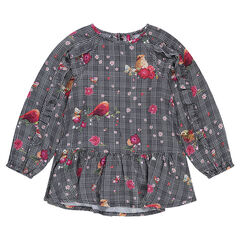 Checked tunic with flowers and birds