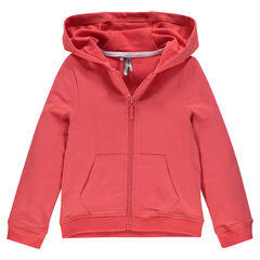 Zipped, fleece hooded jacket.