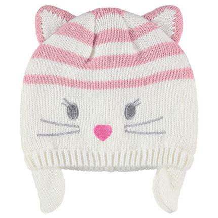 Knit cap with stripes and cat ears in relief