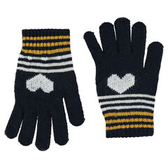Knit gloves with jacquard print