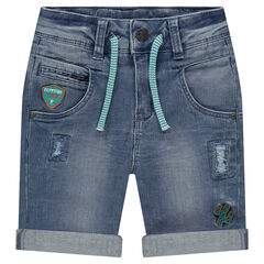 Distressed jean Bermuda shorts with patches