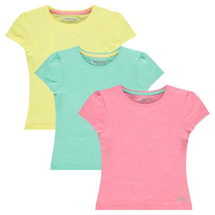 Set of 3 short sleeve plain-color T-shirts