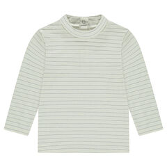 Thin turtleneck sweater with silvery stripes