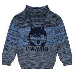 Twisted knit sweater with wolf printed in felt