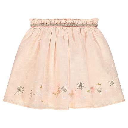Frilled skirt with printed flowers