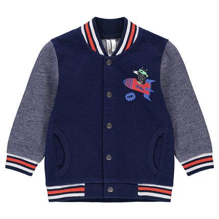 Fleece letterman jacket with teddy bear and rocket prints.
