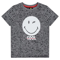 Short-sleeved heathered jersey tee-shirt featuring a ©Smiley print