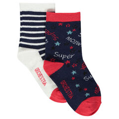 Set of 2 pairs of assorted socks, striped and with motif