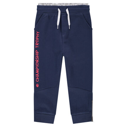 Patterned fleece sweatpants with printed message