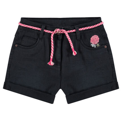 Junior - Crinkled-effect plain-colored shorts with embroidered flowers and an adjustable cord
