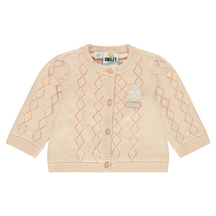 Knit cardigan with ©Smiley Baby badge