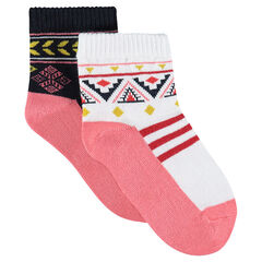 Set of 2 pairs of assorted socks with an ethnic motif