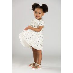 Short-sleeved dress with allover printed golden cherries