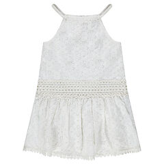 Sleeveless dress with lace flowers