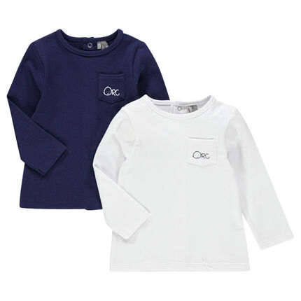 Set of 2 long-sleeved tee-shirts with pocket and printed logo