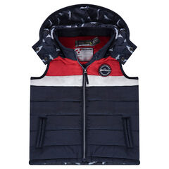 Sleeveless padded jacket with a removable hood and badge patch