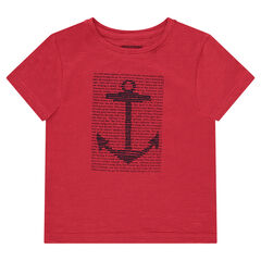 Short-sleeved plain-colored jersey tee-shirt with a decorative print