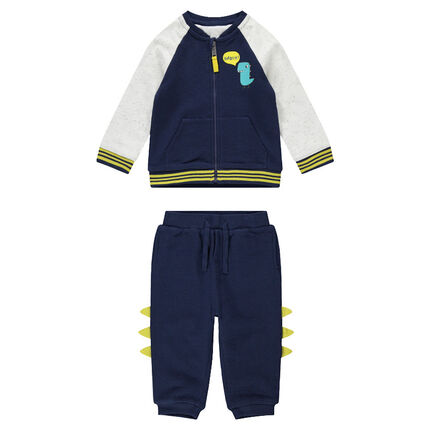 Fleece sweatsuit with dinosaur print and 3D crest