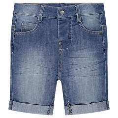 Distressed and crinkled-effect denim bermuda shorts