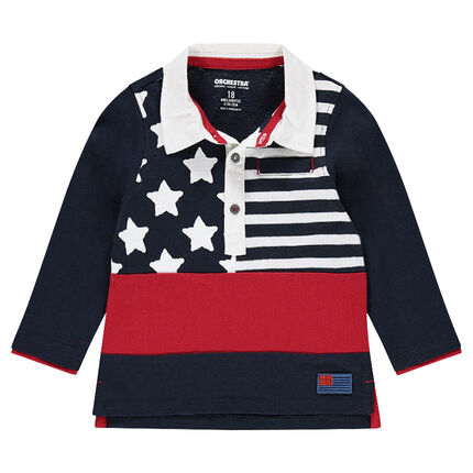 Long-sleeved slub jersey polo shirt with a flag-style print