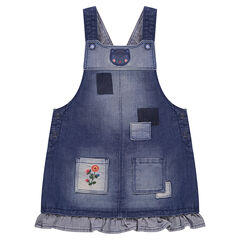 Denim overall dress with patches and embroidery