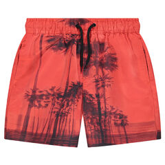 Junior - Beach shorts with watercolor-style palm trees